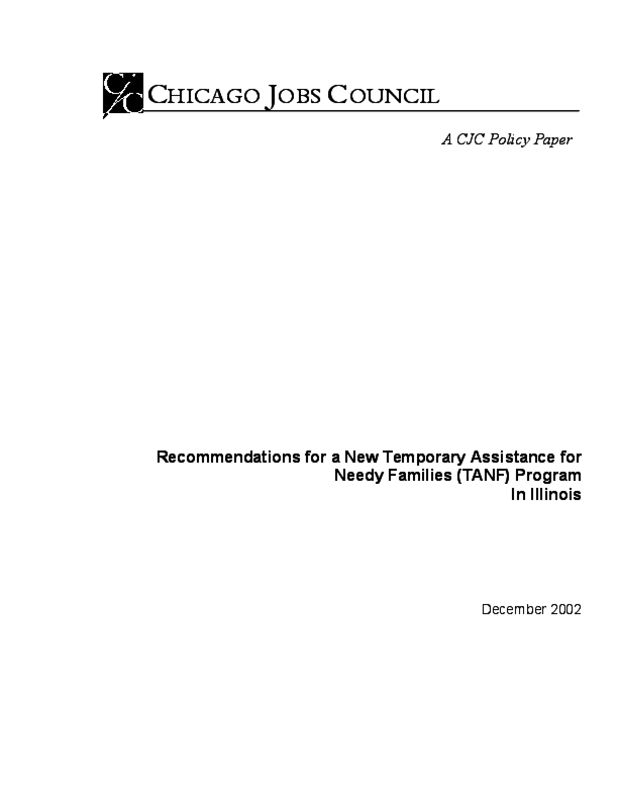 Recommendations for a New Temporary Assistance for Needy Families (TANF) Program In Illinois
