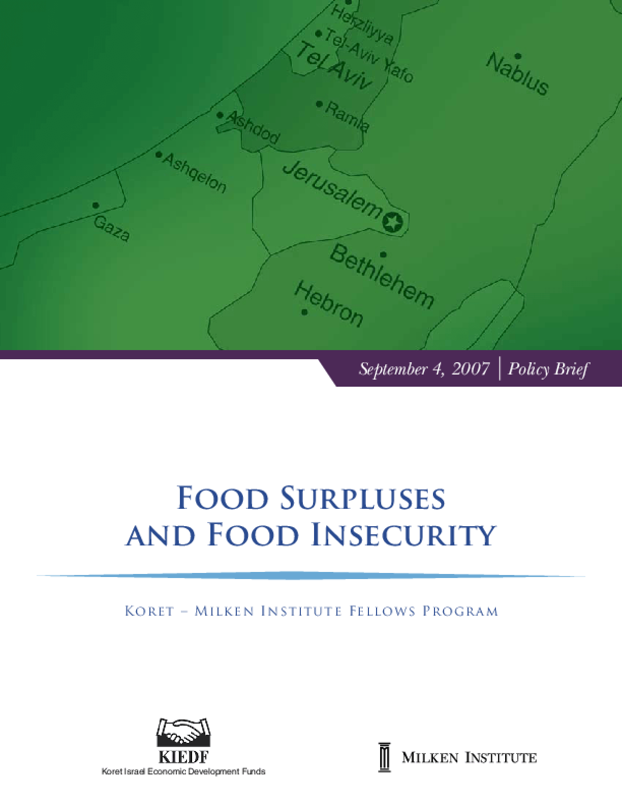 Food Surpluses and Food Insecurity