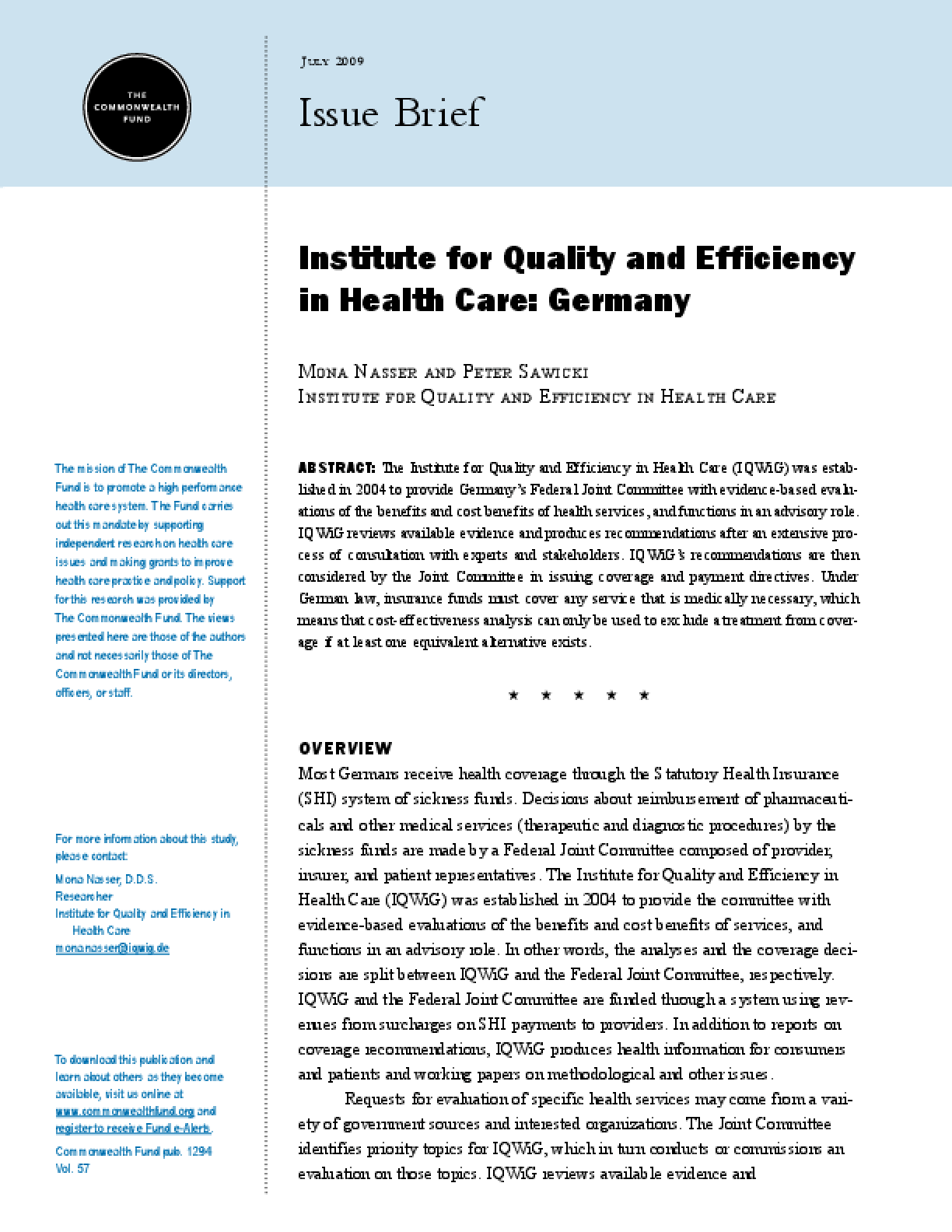 Institute for Quality and Efficiency in Health Care: Germany